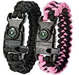 "A2S Protection Paracord Bracelet K2-Peak – Survival Gear Kit with Embedded Compass, Fire Starter, Emergency Knife & Whistle (Black / Pink 8.5"")"