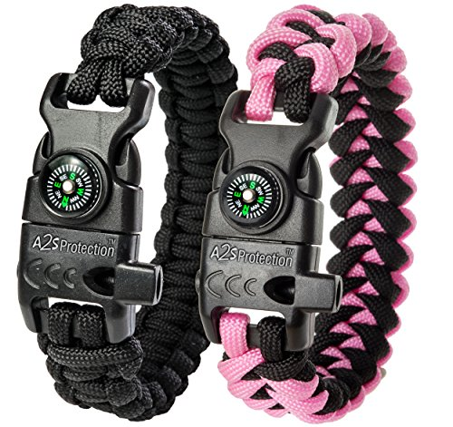A2S Protection Paracord Bracelet K2-Peak – Survival Gear Kit with Embedded Compass, Fire Starter, Emergency Knife & Whistle (Black / Pink 8.5