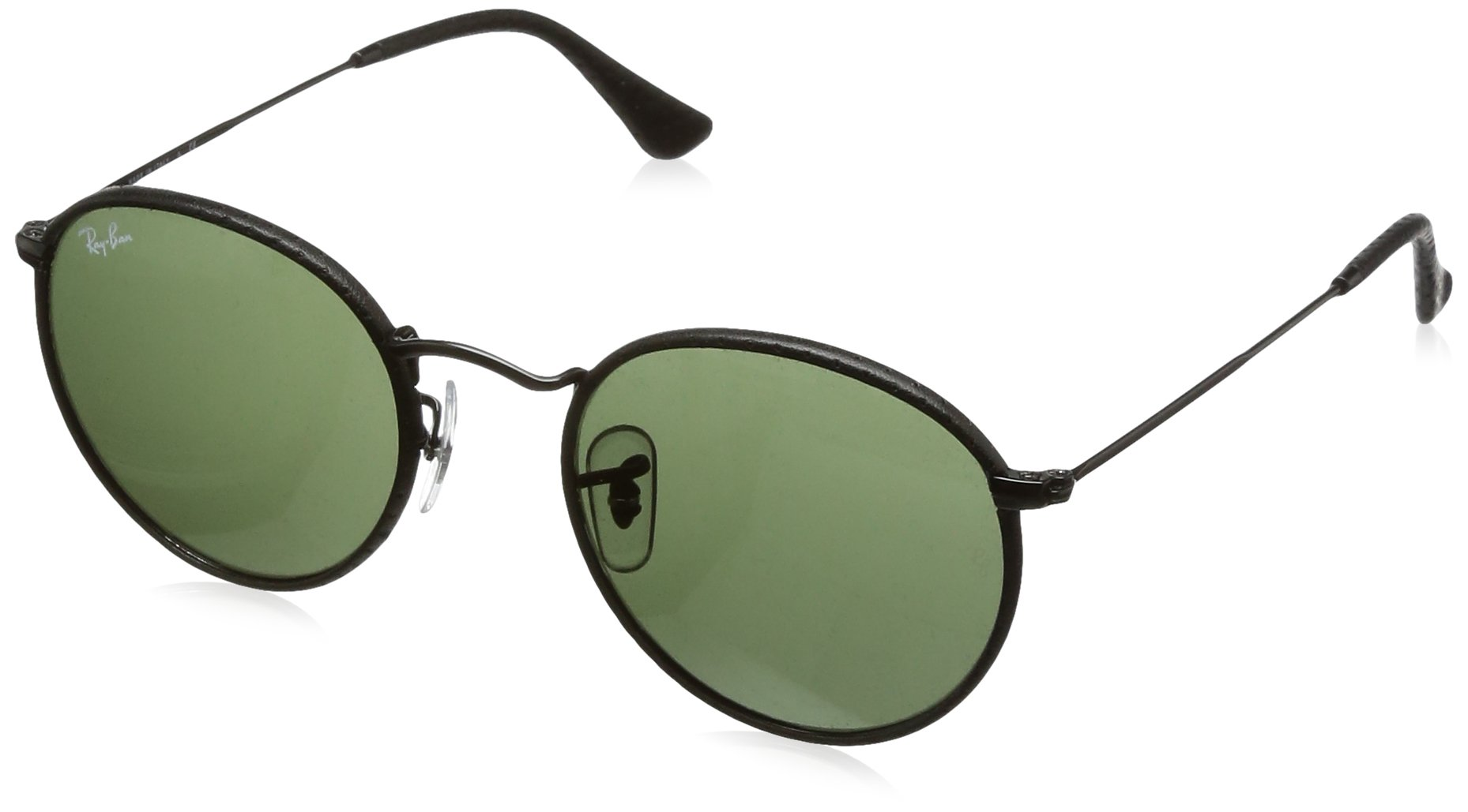 Ray-Ban Women's Phantos Round Leather Sunglasses, Black/Crystal Green, One Size by Ray-Ban