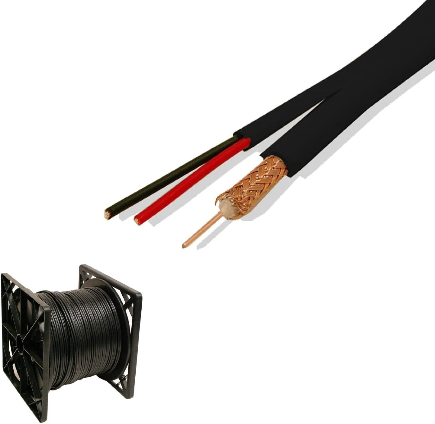 DC Power  Siamese Security Camera Cable 500FT Black RG59 Tool Kit CCTV