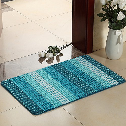 Hihome Bright Blue Stripes Doormats Non-Slip Outdoor Door Mats Inside Entrance Rugs 36-Inch By 24-Inch (Blue Gradient) (Blue Cushions Bright)