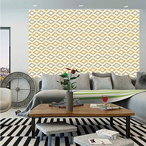 - Geometric Huge Photo Wall Mural,Abstract Nature with Flowers Forms Squares Geometric Soft Elements Decorative,Self-Adhesive Large Wallpaper for Home Decor 100x144 inches,Marigold Cream Sage Green
