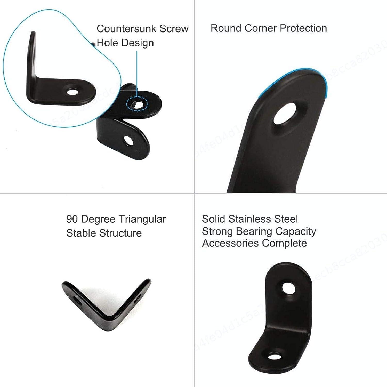 BERYLX 5pcs /Ángulo 20x 20mm Soporte de Acero Inoxidable para Muebles Sujetador de Esquina Negro Soportes de /ángulo Recto en Forma de L Protector de Esquina Soporte de Estante