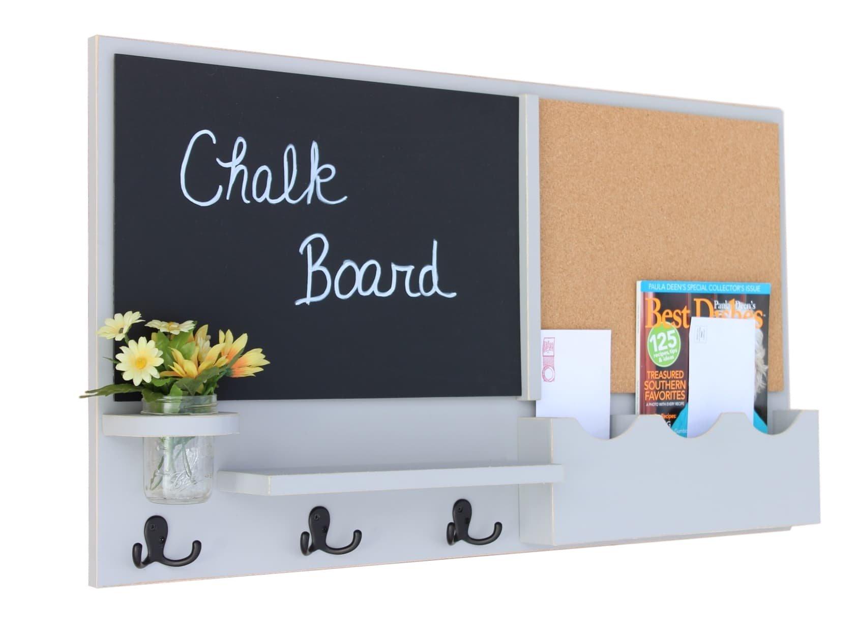 Legacy Studio Décor Message Center with Chalkboard Cork Board Mail Organizer Key Hooks Coat Hooks Mason Jar (Distressed, Gray)