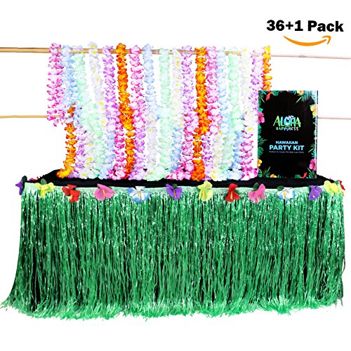 Hawaiian Leis Necklaces by Aloha Happiness (Pack of 36) + 1 Green Luau Table Skirt (9ft) - Perfect Hawaiian Decorations to Create A Wonderful Luau Party for $<!--$23.99-->