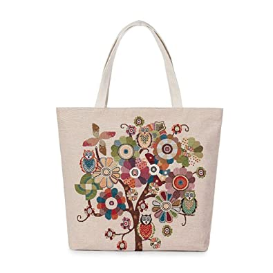 Amazon.com: Aelicy dropshipping new hot Selling Owl Printed Canvas Tote Casual Beach Bags Women Shopping Bag Handbags bolsa feminina Color B: Shoes