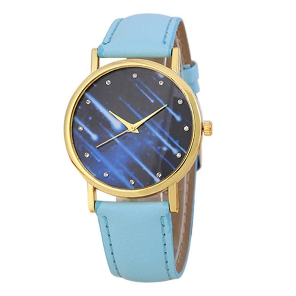 Mandy 2016 Leather Band Analog Quartz Wrist Watch Light Blue