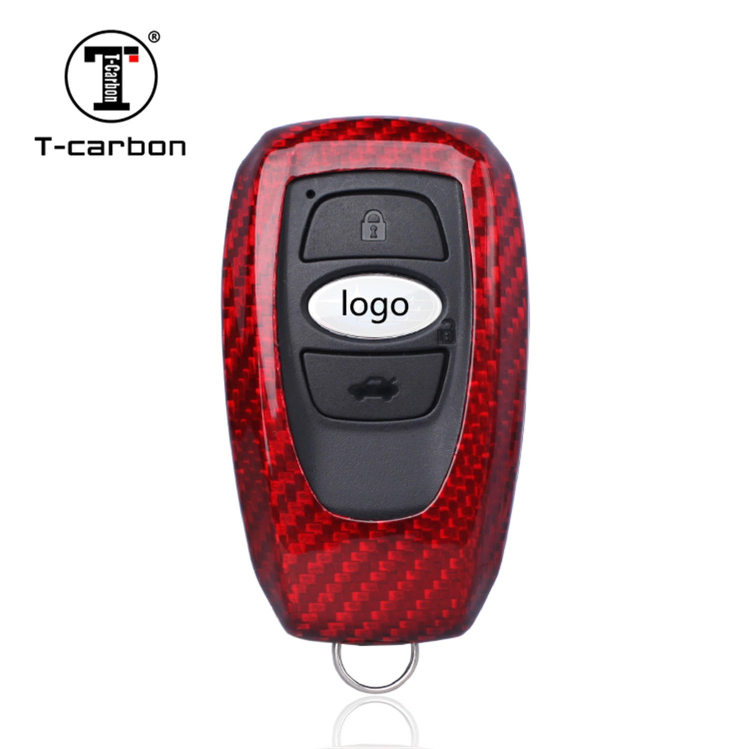 Carbon Fiber Key Fob Cover For Subaru Key Fob Remote Key, Fits Subaru Outback Forester XV Legacy Levorg Smart Keyless Start Stop Engine Car Key, Light Weight Glossy Key Fob Protection Case - Red