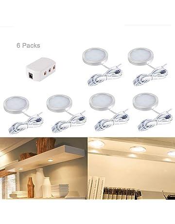 6pcs Interior LED luces del punto del techo debajo del accesorio de iluminación del gabinete con