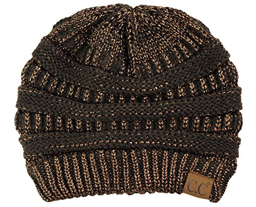 C.C Trendy Warm Chunky Soft Stretch Cable Knit Beanie Skully, Brown Metallic