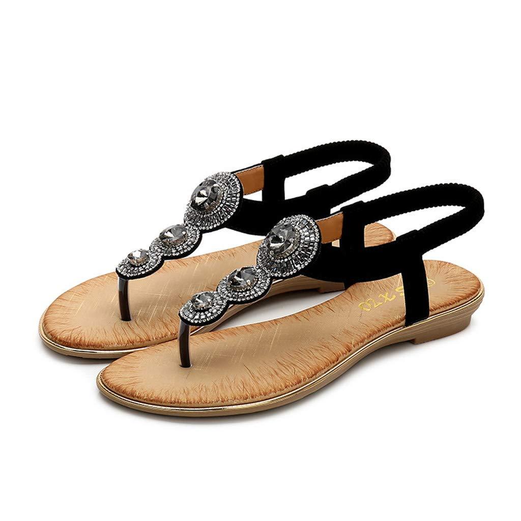 Women Sandals,AIMTOPPY Womens Retro Fashion Bohemia Crystal Flats Shoe Summer Flip Flops Casual Open-Toe Rome Sandals