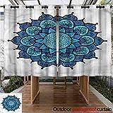 "Sunnyhome Custom Outdoor Curtain Lotus Arabic Vintage Folk Flower Waterproof Patio Door Panel W 55"" XL 72"""