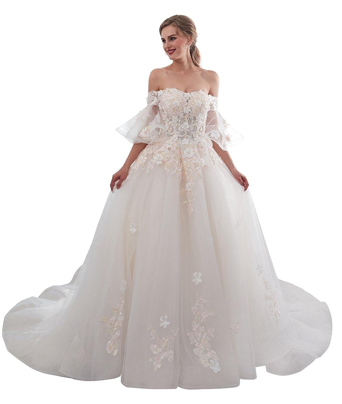 Champagne APXPF Women's Lace Flowers Ball Gown Wedding Dress for Bride Off Shoulder Bride Dress Chapel Train