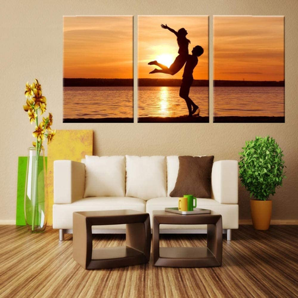 WZXHN Decorations Painting Prints 3 Pieces Modular Pictures Canvas Prints Romantic Sunset Beach Picture Nordic Art Canvas Home Decoration Seascape Wall Art-Framed