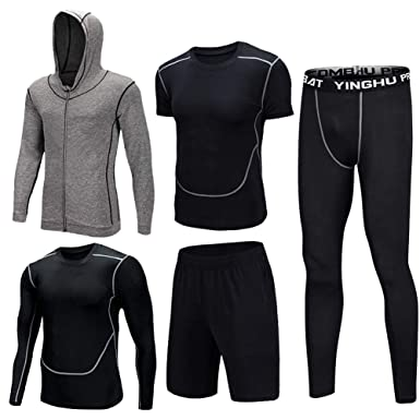 89efca29f2d 5 Pcs Tracksuits Mens Fitness Gym Clothing