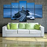 PEACOCK JEWELS [Large] Premium Quality Canvas Printed Wall Art Poster 5 Pieces / 5 Pannel Wall Decor Lighthouse Painting, Home Decor Pictures - Stretched
