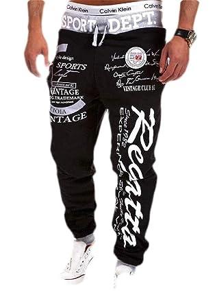 BingSai Pantalones de chándal para Hombre, elásticos, con cordón ...