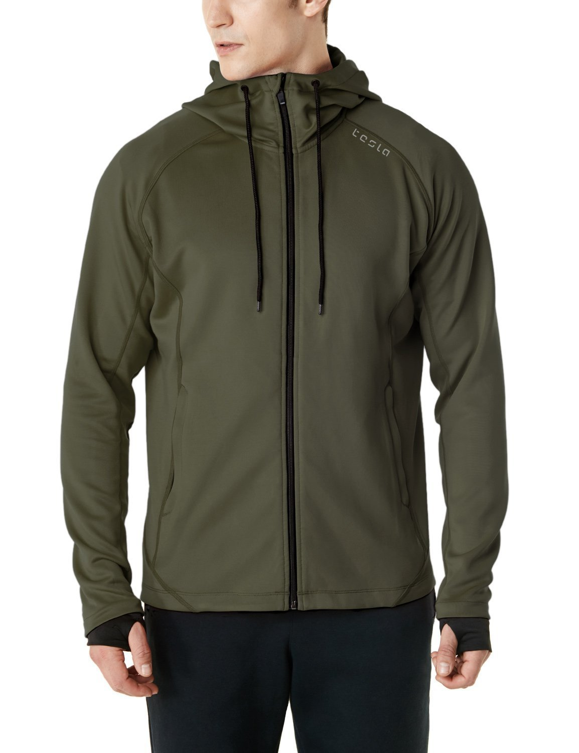 TSLA Men's Performance Active Training Full-Zip Hoodie Jacket, Active Fullzip(mkj03) - Khaki, Small by TSLA