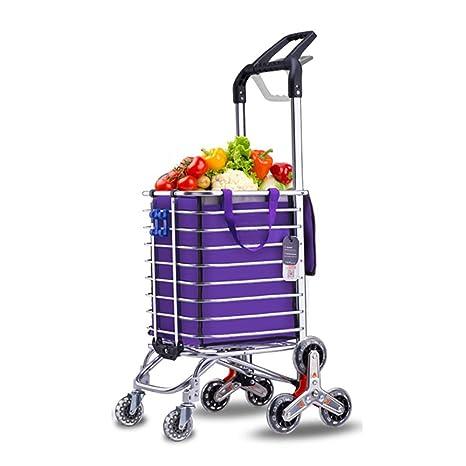 Carritos de la compra Carro de Compras, escaleras para Comprar Carrito de Comida Plegable Carretilla