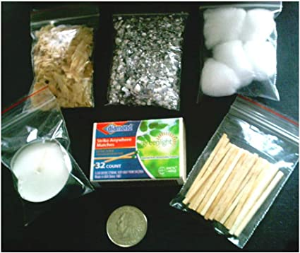 Fire Starter Kit Emergency Survival  Magnesium Hunting Camping Fatwood Back Pack