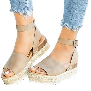 3608c0d9ea Ymost Womens Wedges Sandal Open Toe Ankle Strap Trendy Espadrille Platform  Sandals Flats