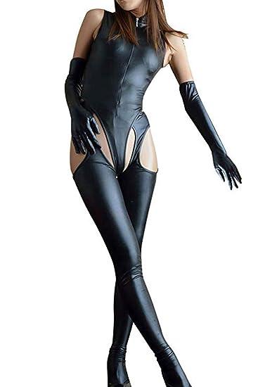 c1c2124b7cb9 Amazon.com  Freebily Women Faux Leather Catwoman 4 Pieces Set Romper  Jumpsuit Dance Party  Clothing