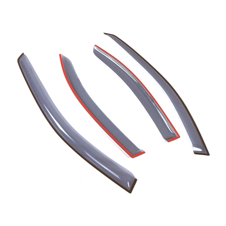 4 Pcs Set Compatible With 2001-2007 Mercedes-Benz C240 C320 C230 Tuningpros LWD2-508 Outside Mount Window Visor Deflector Rain Guard Light Grey