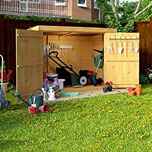 BillyOh Mini Keeper 6×3 Overlap Wooden Pent Bike Log Tool Storage Double Door Roof Felt Store Shed