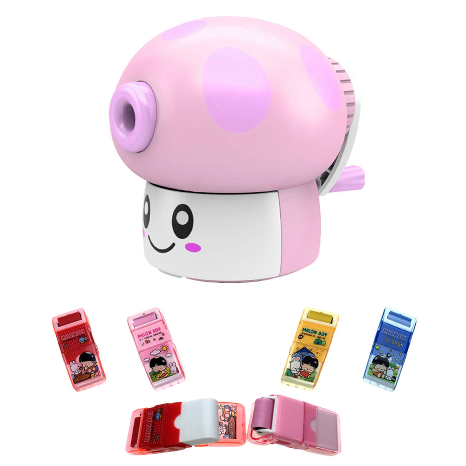 Novelty Pencil Sharpener Advanced Pencil Sharpener and Eraser Set Desk and School Supplies Cute Birthday Party Kids Hand held Manual Pencil Sharpener Kids Best Gift Ideas blue