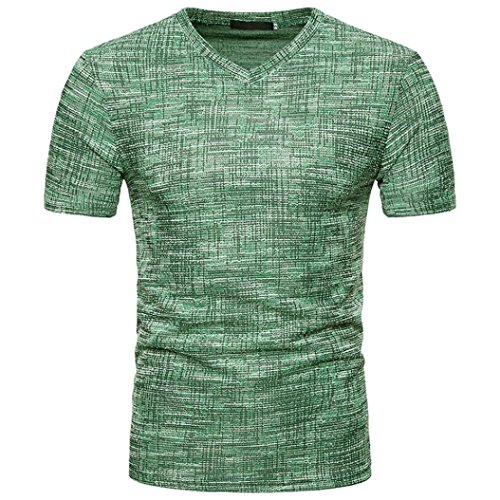 Promotions! Mens Summer Pure Brushed Short Sleeve Top Soid Hole V Neck Pullover T-Shirt by JSPOYOU (L, (Old Navy Mens Pullover)