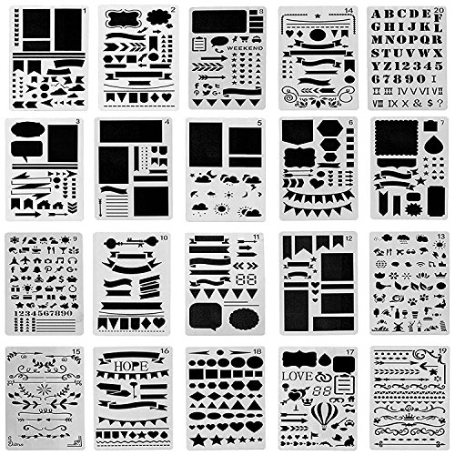 Ilyever 20 Pack Over 1000 Different Pattern Plastic Bullet Journal Stencil Lettering Stencil Drawing Painting Alphabet Number Craft Ruler Templates for Scrapbooking Card Craft Projects,4x7 - Stencil Logo