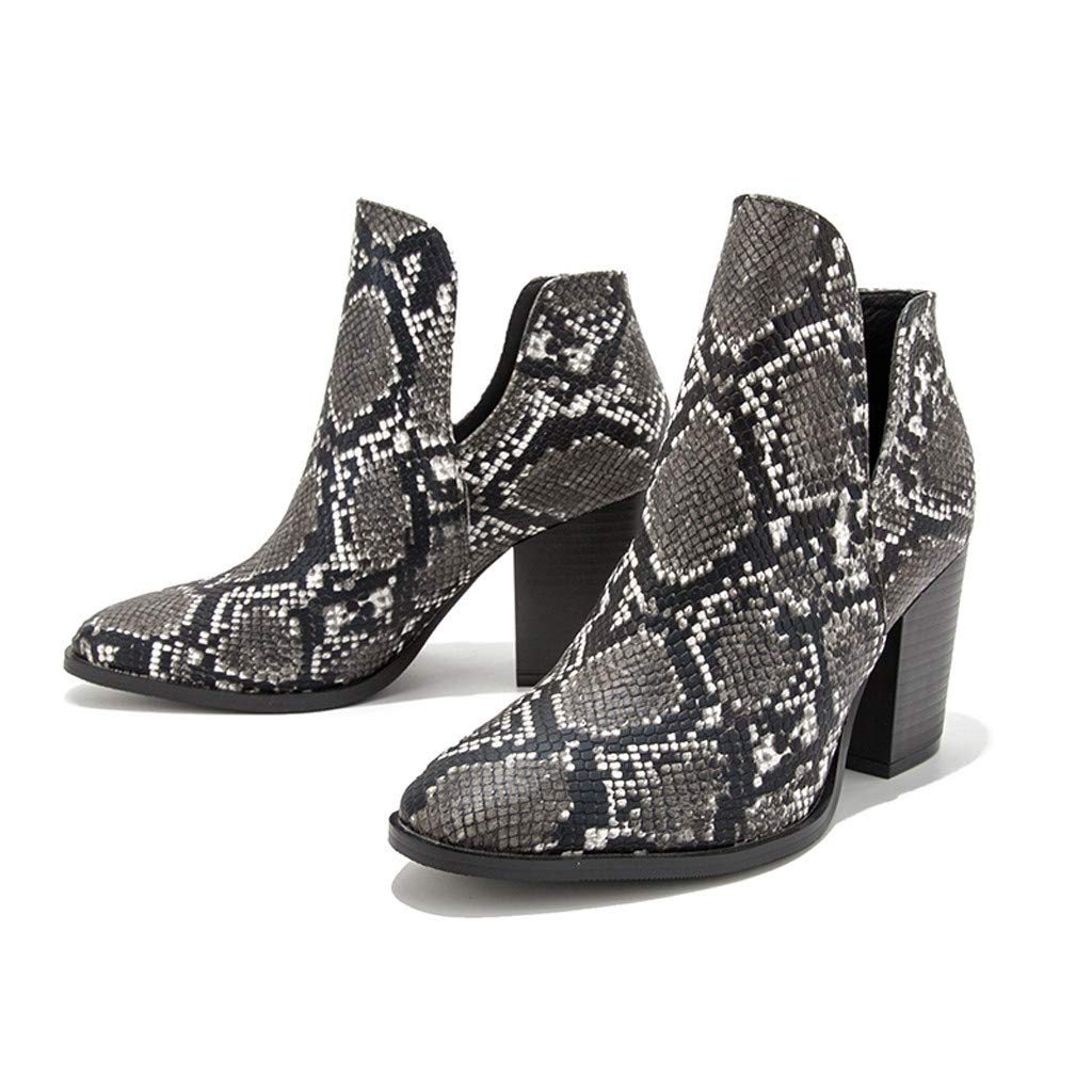 TnaIolral Womens Print Boots,Ladies Pointed High-Heeled Fashion Snake Pattern Large Size Shoes