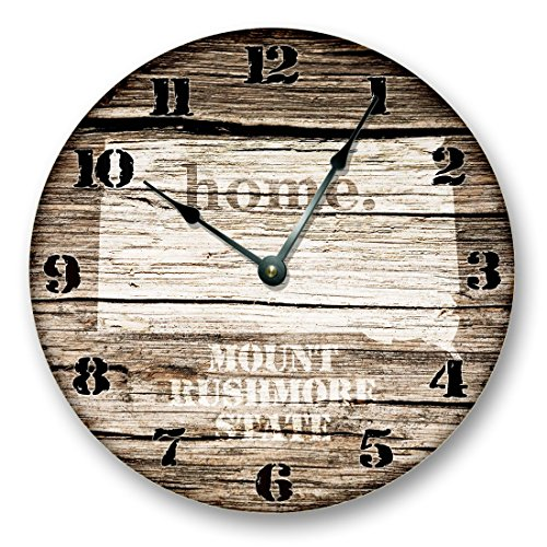 SOUTH DAKOTA State Map Wall Clock old weathered boards rustic cabin country decor