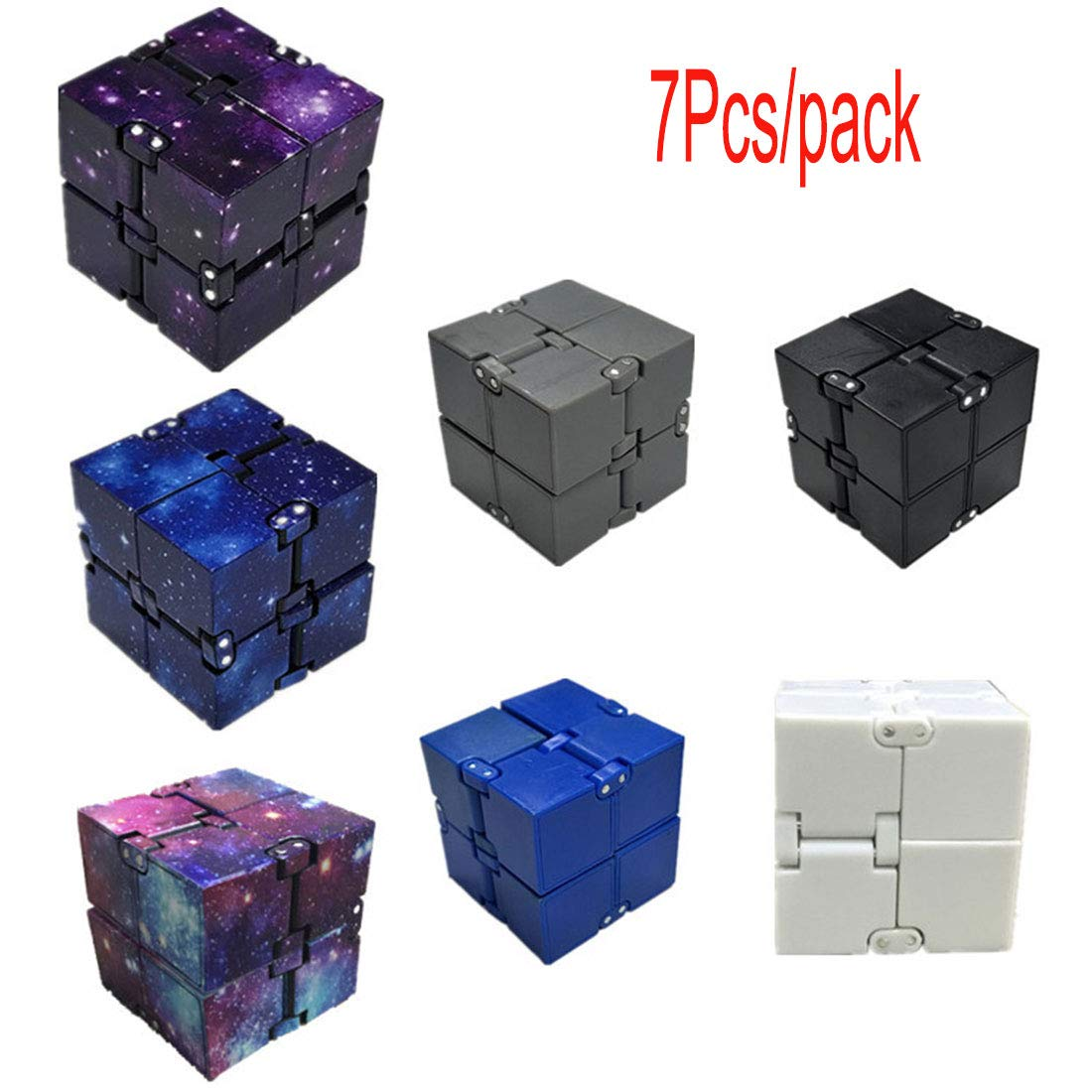 Fadfed FInfinity Cube Fidget Cube Desk Toy - Premium Quality Aluminum Infinite Magic Cube with Exclusive Case, Sturdy, Heavy, Relieve Stress and Anxiety, for ADD, ADHD, OCD