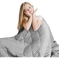 """Huloo Sleep Kids Weighted Blanket Twin 7lbs (41""""×60"""",Gray) Breathable Soft Minky Weighted Throw Blanket for All Season…"""