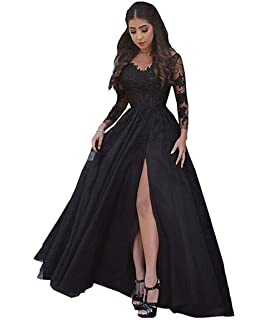 The Peachess Womens Lace Appliques Party Evening Gowns with Slit Long Sleeve Prom Dresses