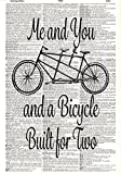 Bicycle Built for Two Print - Vintage - Tandem Bike - Dictionary Page Print - Handmade - Typography - 8.5x11 - UNFRAMED