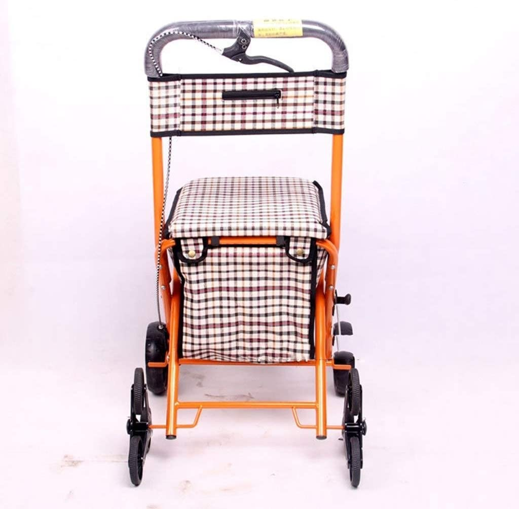 DEE Multi-Function Shopping Trolleys,Kitchen Storage Utility-Carts Four-Wheel with Shopping Basket Shopping Cart Foldable with Seat Grocery Shopping Aid Elderly Walking Assist Carts,Yellow,57X48X91Cm