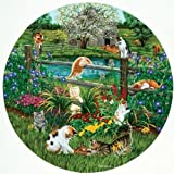 SunsOut Cats At Play - 500 Piece Round Jigsaw Puzzle by SunsOut