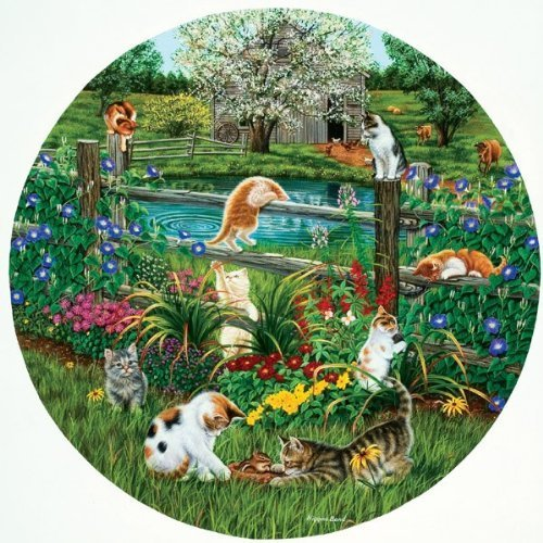 SunsOut Cats At Play - 500 Piece Round Jigsaw Puzzle SunsOut by SunsOut Puzzle 2634e0