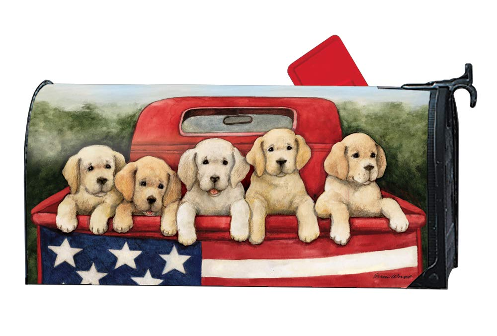 MailWraps Studio M Patriotic Puppies Decorative Summer Dogs Oversized, The Original Magnetic Mailbox Cover, Made in USA, Superior Weather Durability, Large Size fits 8W x 21L Inch Mailbox