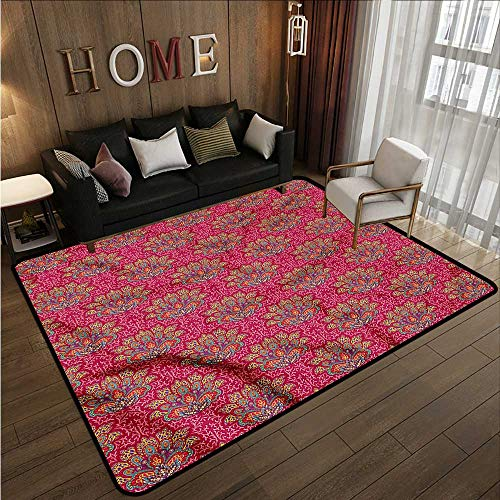 (Custom Rug Lotus South Asian Paisleys Anti-Slip Doormat Footpad Machine Washable 4'7