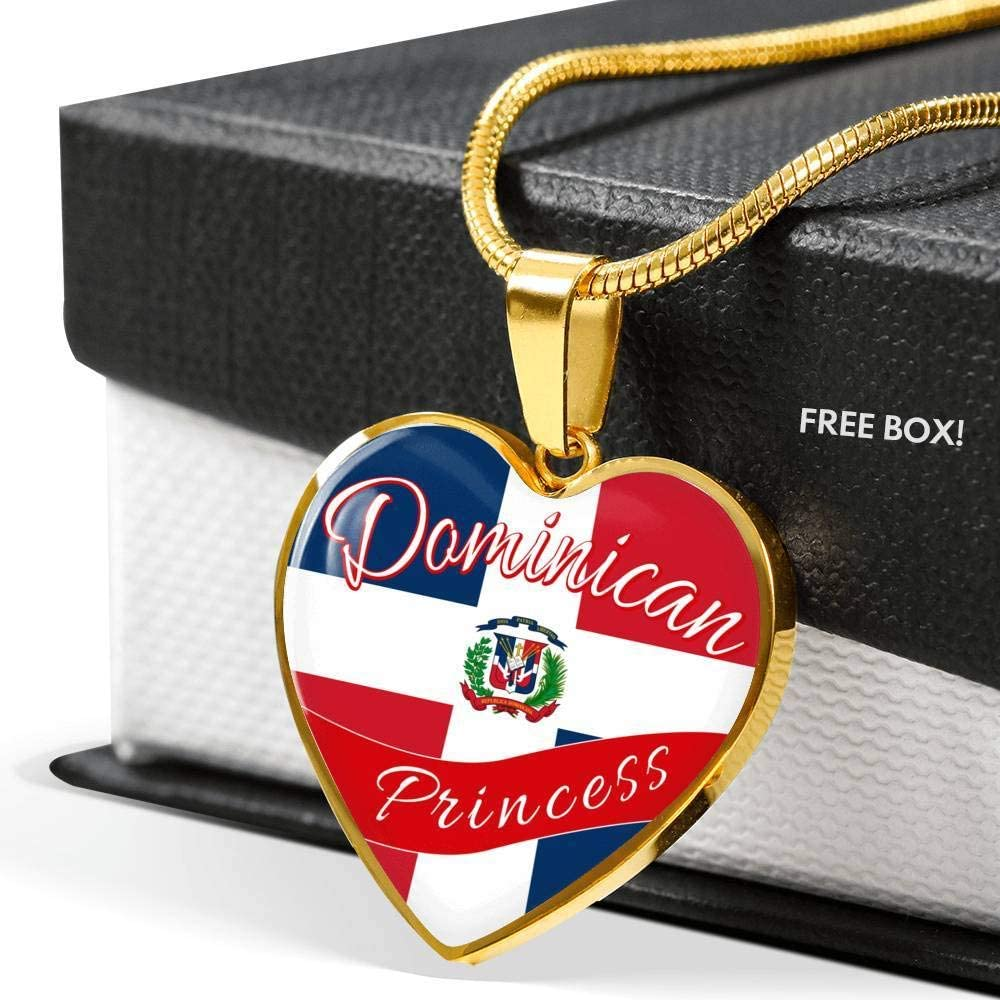 Express Your Love Gifts Dominican Princess Necklace Engraved Stainless Steel Heart Pendant 18-22