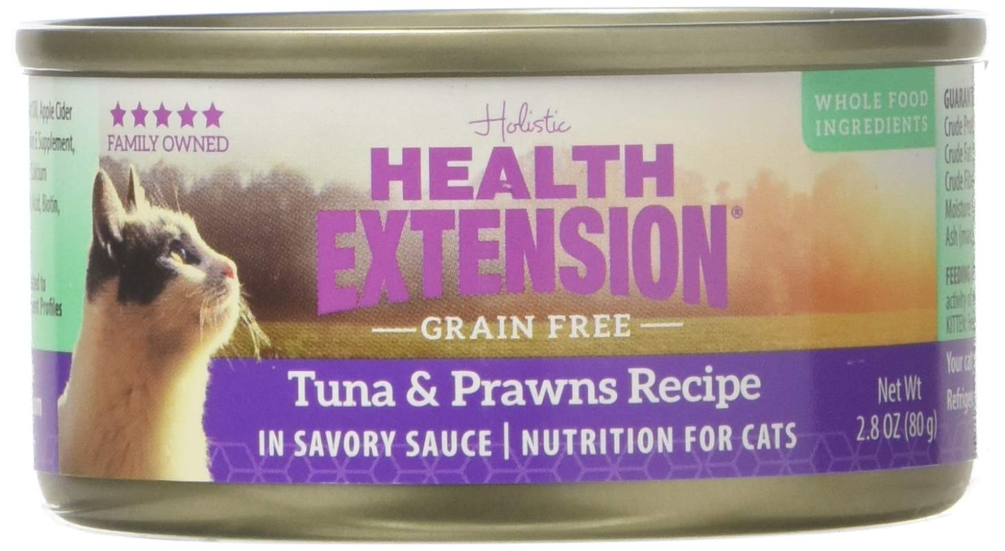 Health Extension 784672107976 2.8 Oz Grain Free Tuna and Prawn for Cats Cans (Set of 24), One Size