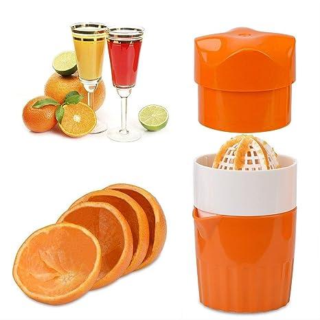 Favsonhome Exprimidor de limón de cítricos, exprimidor manual con colador y contenedor, para limón, naranja, lima, cítricos (color naranja): Amazon.es: ...