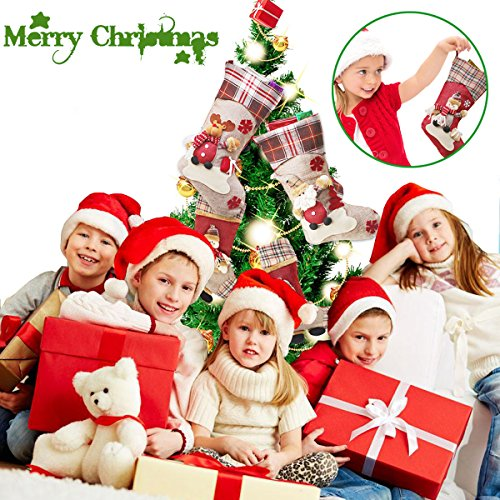 Dreampark Christmas Stockings, Big Size 3 Pcs 18 Classic Christmas Stocking Santa Snowman Reindeer Xmas Character for Party Decoration (Style 2)