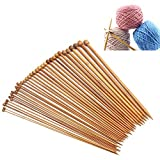 Crochet Hooks Ergonomic Craft Carbonized Bamboo Knitting Needles Single Pointed Smooth Crochet 1 Sets of 18 Pair 36Pcs Different Sizes 18 Sizes