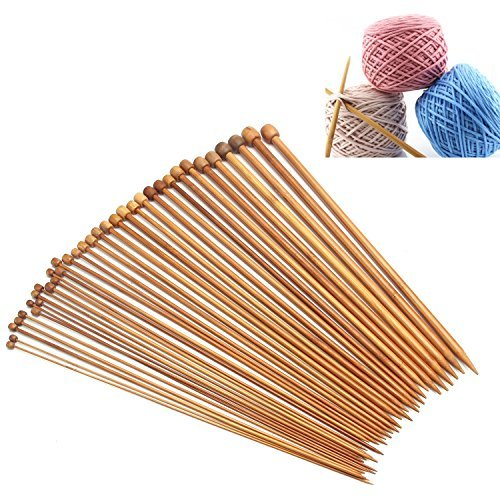 Crochet Hooks Ergonomic Craft Carbonized Bamboo Knitting Needles Single Pointed Smooth Crochet 1 Sets of 18 Pair 36Pcs Different Sizes 18 Sizes