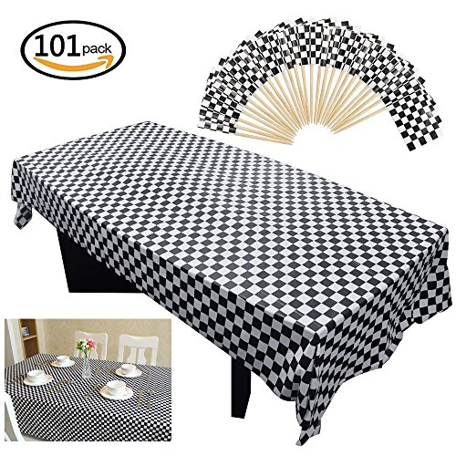 Rectangular Cake Pick - Homgaty 101 Pieces Race Theme Party Supplies-100 Pack Mini Checkered Racing Flag,Toothpick Stick Cupcake Toppers and 1 pack Plastic Checkered Tablecover, Black and White Rectangular Tablecloth