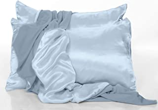 product image for PJ Harlow Morning Blue Satin Standard Pillowcases - Set of 2